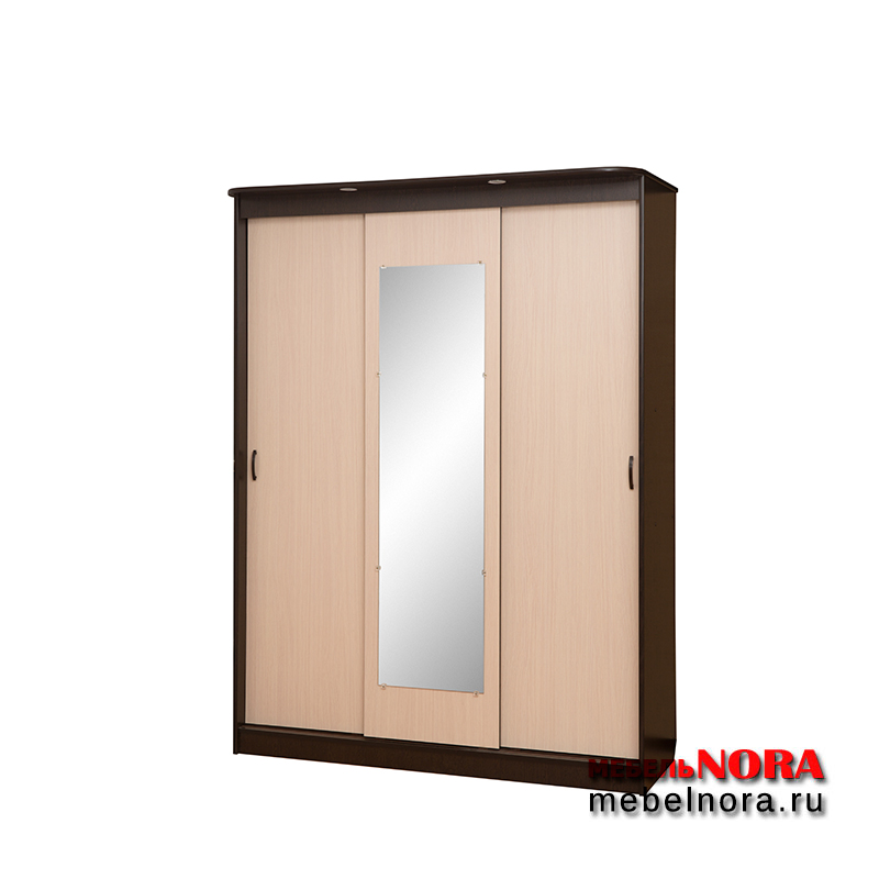 шкаф купе трёхдверный с зеркалом в интернет магазине мебельnora